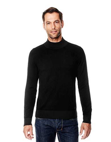 Vincenzo Boretti Herren-Pullover Steh-Kragen Slim-fit tailliert Strick-Pullover einfarbig Baumwolle-Mix edel elegant leicht Fein-Strick für Business oder Casual schwarz M
