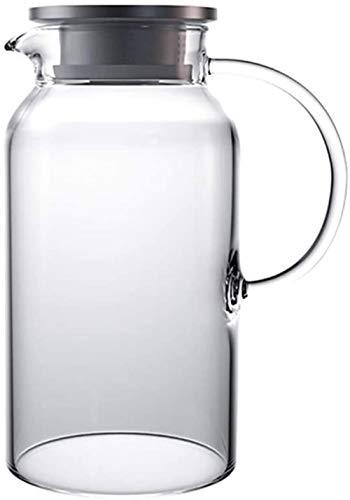 GAOLILI Tetera Tetera de 1800 ml 60,8 Oz Cristal manija hervidor de Agua con Jugo Transparente integrada Engrosada Lanzador de Hostelería Oficina de Gran Capacidad de la Tetera
