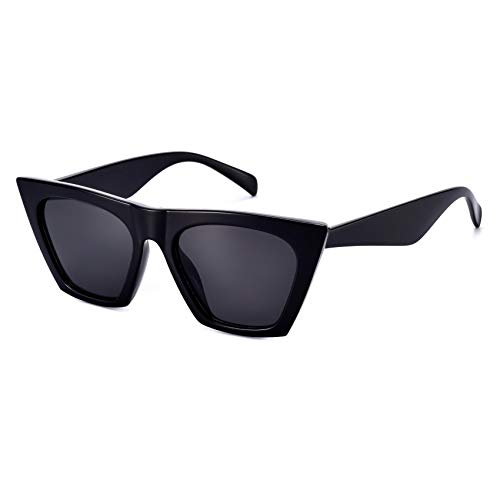 Sunglasses for Women Trendy Square Cateye Cat Eye Black Retro Rectangle Cool Vintage Fashion 90s Cute Funky Aesthetic 2000s ladies 70s Small Dark Chunky Unique Baddie Frame 2021 Stylish Clout Mosanana