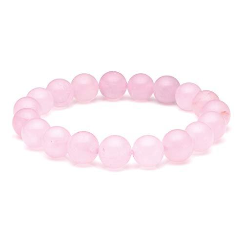Jovivi 10mm Bracelet Perles Quartz Rose Pierre Naturelle Précieuse Extensible Elastique Tibétain Bouddhiste Unisexe