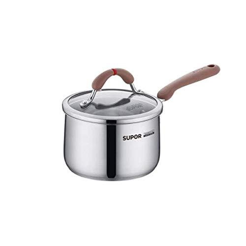 LONGWDS sartén La leche Olla, acero inoxidable 304 Crisol de la leche, la llama abierta 16cm Olla universal de alta calidad Cocinar la cacerola la leche, (color: plata, tamaño: 16 cm) Cocina