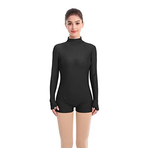 Mujer Maillot de Danza Ballet Manga Larga Lycra Body Gimnástico Leotardo de Baile Mono Boxer Yoga Ropa Deportiva Negro XS