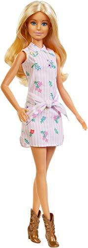 Barbie FXL52 - Fashionistas Puppe im Blumenkleid und Cowboystiefeln, Spielzeug ab 3 Jahren