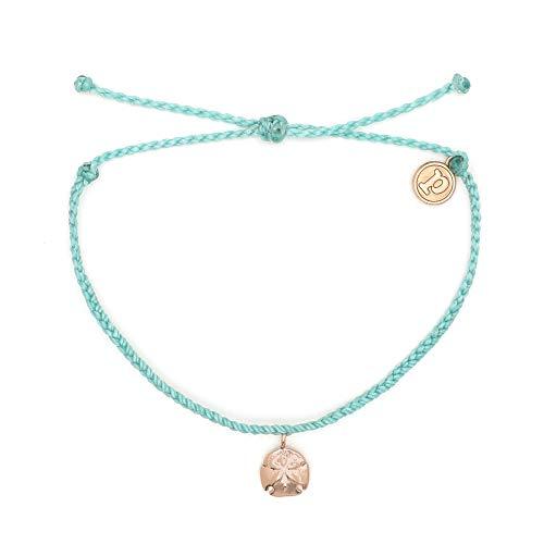 Pura Vida Rose Gold Sand Dollar Seafoam Bracelet - Waterproof, Artisan Handmade, Adjustable, Threaded, Fashion Jewelry for Girls/Women