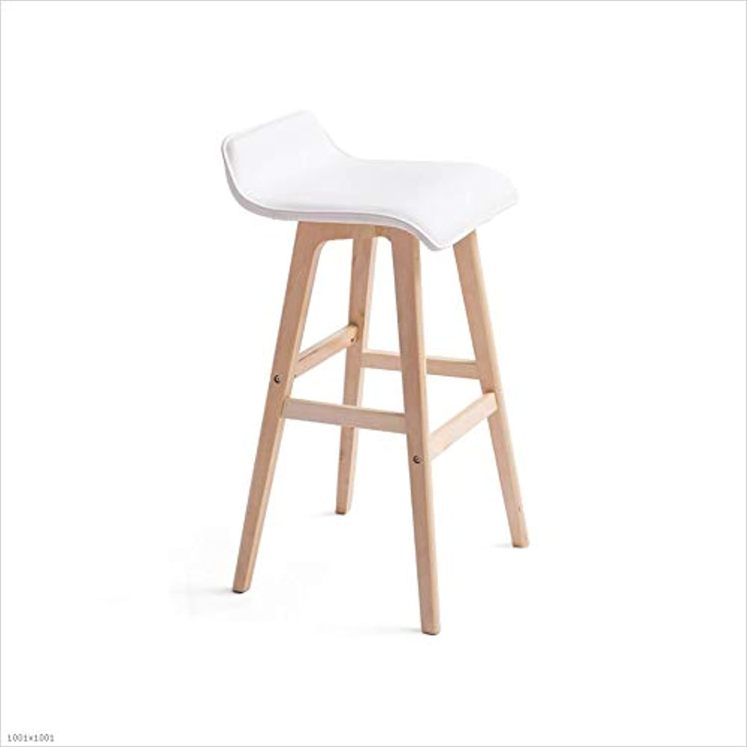 Aidriney- Bar Chair Solid Wood Bar Chair Bar Chair Fashion Bar Stools Natural Cotton seat Easy Assembly (color   White)