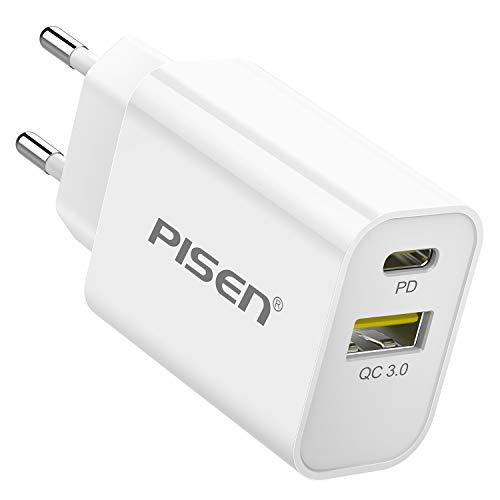 PISEN Caricatore USB C, PD Caricatore USB C da Muro 2 Porte con 18W Power Delivery e Quick Charge 3.0 per iPhone 11 PRO/XS/XR/X/8, iPad PRO, MacBook/MacBook PRO, Galaxy S10/S9, Xiaomi, LG etc.