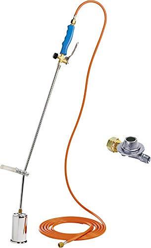 GLORIA Thermoflamm bio Professional Set, Unkrautbrenner, Unkrautvernichter, Gasbrenner, Grillanzünder, Betrieb mit Gasflasche, gegen Unkraut, Abflammgerät, inkl. Druckminderer