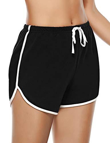 Abollria Damen Shorts Schlafanzughose Kurz Schlafhose Kurze Sporthose Baumwolle Pyjamahose Kurz Hosen Yoga Running Gym Beiläufige Elastische