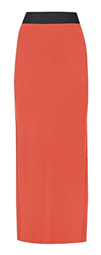 Vrouwen dames PLUS grootte JERSEY lange MAXI rok GYPSY STRETCHY JURK 16-26 (S/M UK 8-10, CORAL)