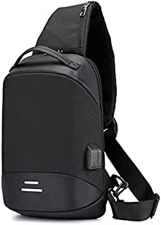New Men Chest Bag with USB Charge Small Backpack Man Multifunction Shoulder Bag - 1801 Black