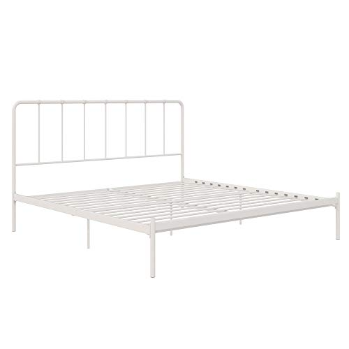 LikeHome Aaron Metal Bed Frame, Small Space Living, King Size, White