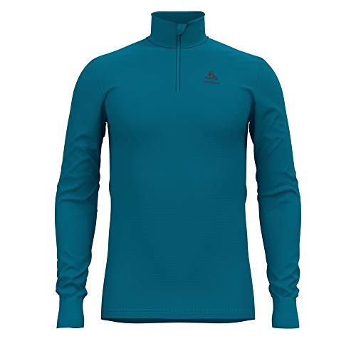 Odlo BL Top Turtle Neck l/s Half Zip Active Warm, Canottiera Uomo, Mare tumultuoso, L