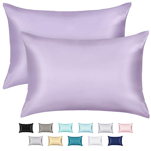 ZAMAT Silky Satin Pillowcases Set of 2, Luxury Soft Pillow Case for Hair and Skin, Wrinkle, Fade Resistant, Pillow Cover with Envelope Closure