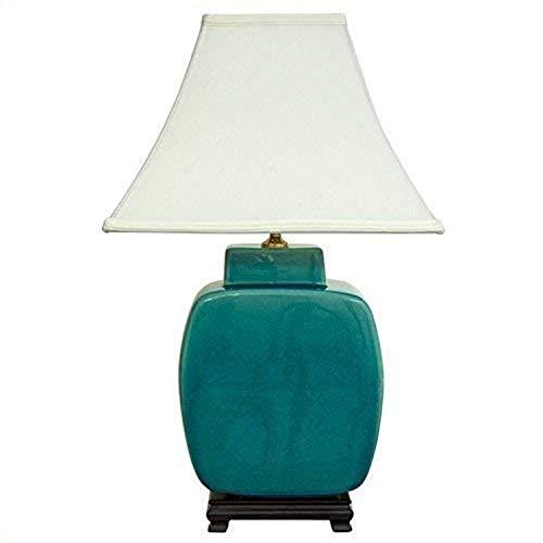 Hot Sale Oriental Furniture Southwest Turquoise Decor 20-Inch Azure Glazed Ceramic Jar Desk/Table Lamp, JCO-X4014