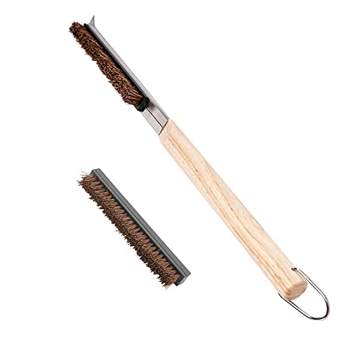 BBO+1 Pizza Oven Brush with Scraper,Pizza Stone Cleaning Brush with Scraper,Palmyra Head Cleaning Brush Wood Handle Cook Kitchen Oven Accessories Kit Portable BBQ Bake Tool Purpose Cleaning Brush