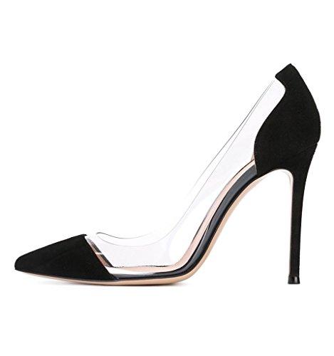 EDEFS Damen Klassische High Heels Pumps Stiletto Crystal PVC Schuhe Blacksuede Größe EU36