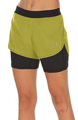 icyzone Workout Running Shorts with Pockets - Women's Gym Exercise Athletic Yoga Shorts 2-in-1 (S, Mustard)