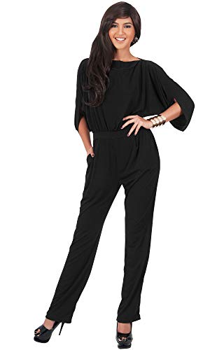 KOH KOH Plus Size Womens Short Sleeve Sexy Formal Cocktail Casual Cute Long Pants One Piece Fall Pockets Dressy Jumpsuit Romper Long Leg Pant Suit Suits Outfit Playsuit, Black XL 14-16