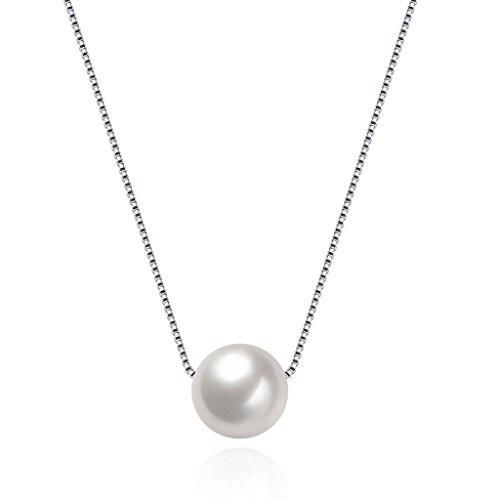 HMILYDYK Collar de mujer auténtica plata de ley 925hecha a mano Gran cadena de colgante de perlas blancas de agua dulce cultivadas.