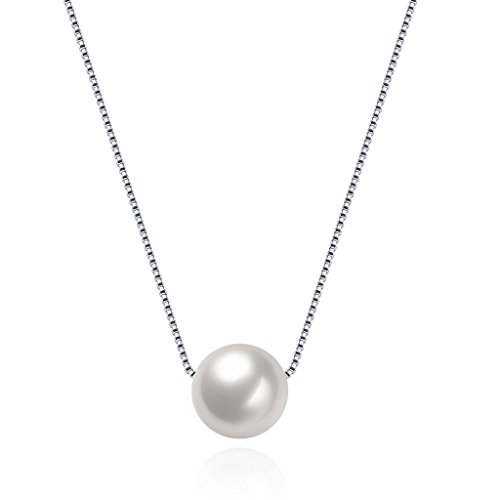 HMILYDYK, Damen-Halskette, echtes 925er-Sterlingsilber, Handarbeit, Anhänger: gezüchtete Süßwasserperle (groß und weiß)
