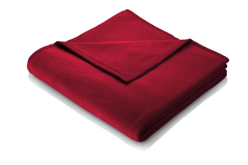 Biederlack Kuscheldecke Rot 150 x 200 cm, Sofadecke Baumwolle 60%