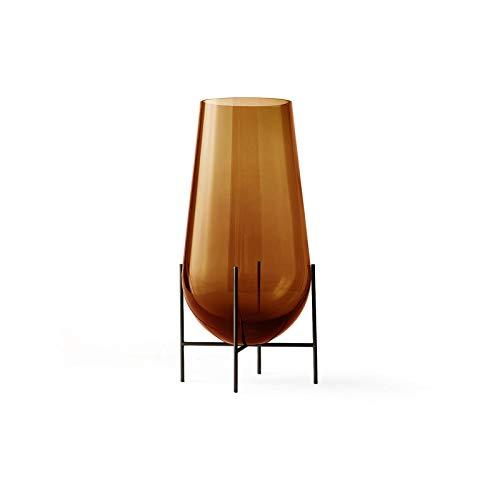 Échasse Vase S, Bernstein H 28cm Ø 15cm Gestell Messing bronziert