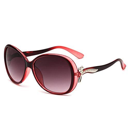 UKKD Gafas De Sol Mujeres Gafas De Sol Ovaladas Mujeres Shade Vintage Retro Gafas De Sol-C6 Lightred