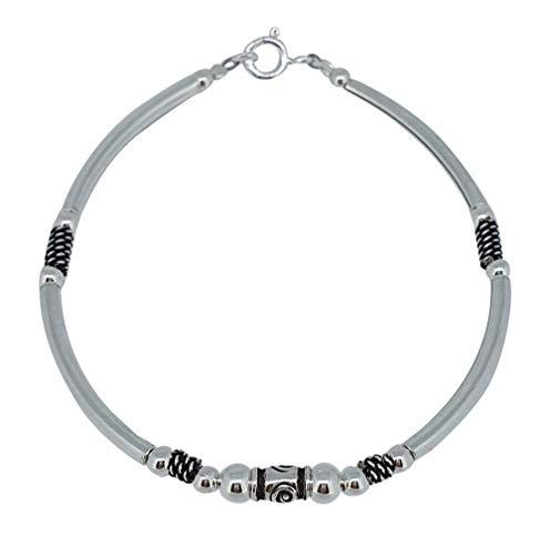 TreasureBay mooie 925 sterling zilveren armband met Bali kralen 17cm