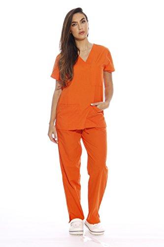 22250V-L Orange Just Love Women's Scrub Sets / Medical Scrubs / Nursing Scrubs,Orange,Large