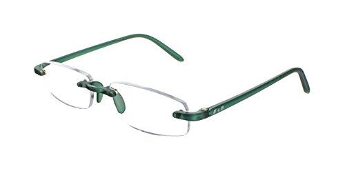 Edison & King Lesebrille – klassisch randlose Brille mit Entspiegelung und Härtung Stärken (Grün, 1,00 dpt)
