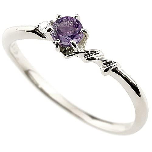 [アトラス]Atrus 指輪 レディース pt900 プラチナ900 アメジスト ダイヤモンド イニシャル ネーム M ピンキーリング 華奢 アルファベット 2月誕生石 13号