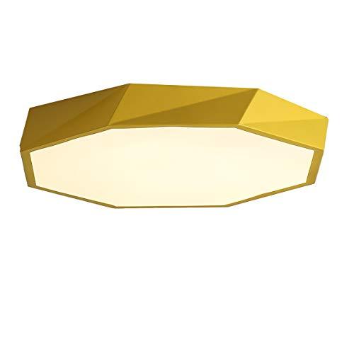 Plafoniera a forma geometrica in stile nordico da incasso, tre temperature di colore Lampada a LED moderna e semplice,Giallo,40 cm