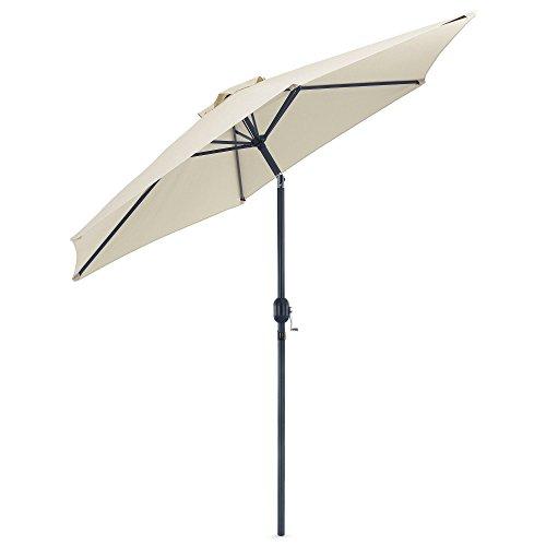 VonHaus 2.7m Tilting Garden Parasol – UV30+ - Outdoor Umbrella with Crank & Tilt Function – Ivory/Cream