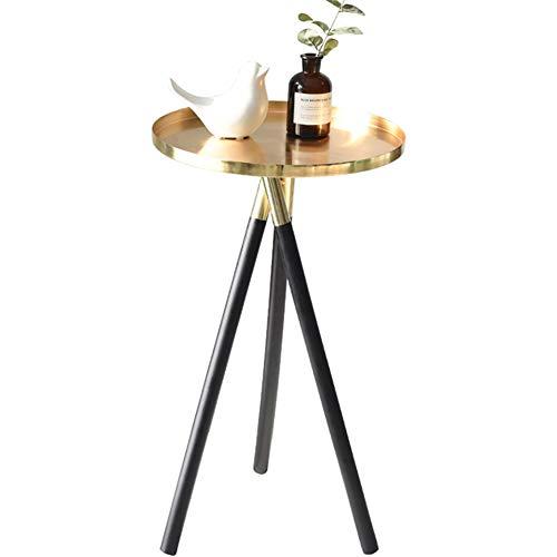 TSQ Mesa Auxiliar Redonda Moderna de Metal, diseño Simple, artesanía cepillada, Pintura ecológica, Resistente, Elegante y Hermosa, Resistente al óxido y a la corrosión