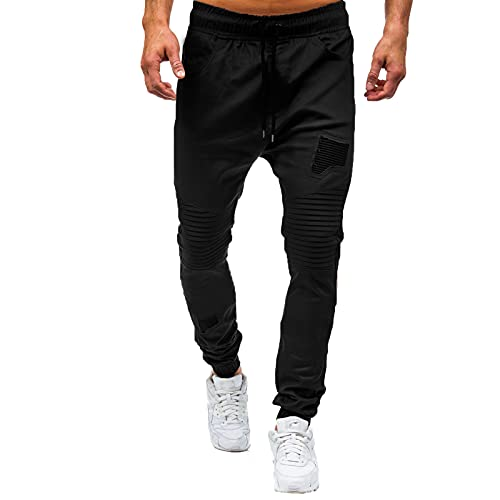 LUNULE Herren Jogginghose Lange Stretch Slim Jogging Pants Outdoor Jogger Trekkinghose für Männer Drawstrings Sporthose mit Taschen Herren Jogging Gym Fitness Fitnesshose Trainingshose Pants