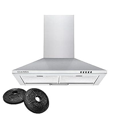 Foto di CIARRA CBCS6201 cappa aspirante 60cm cappa da cucina 60cm in acciaio inossidabile (argento)
