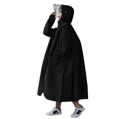 YUUY Impermeable Transparente, Viajes Mujeres portátil Hombres al Aire Libre Que acampa Impermeable de la Ropa Impermeable con Capucha Ponchos Cubierta de la Lluvia (Color : Black, Size : Large)