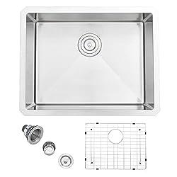 APPASO 23-Inch Single Bowl Kitchen Sink Undermount, 16-Gauge Stainless Steel 10-Inch Deep Utility Sink, Handmade Small Bar Sink, HS2318