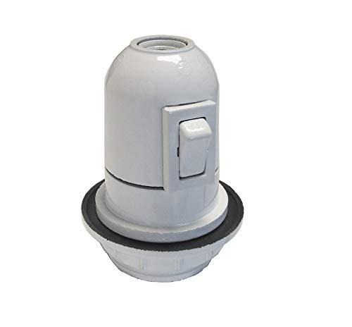 Bf - Portalámparas baquelita e27 roscado/a arandela interruptor blanco bolsa