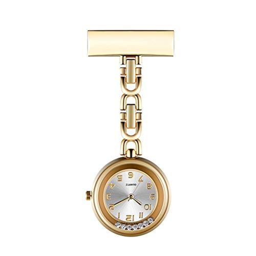 Stijlvolle horlogebenodigdheden - Reloj de Bolsillo con Pin de Solapa de Enfermera de Cuarzo con Diamantes de imitación, Reloj de Enfermera con Clip para Mujer