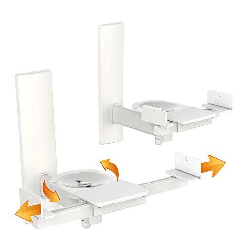 RICOO LH023-W, Paar Schwenkbare Lautsprecher Wand-Halterung, 2 Stück Universal bis 25-kg Boxen-Halter Neigbar, WLAN Airplay Speaker Wall-Mount, Weiss