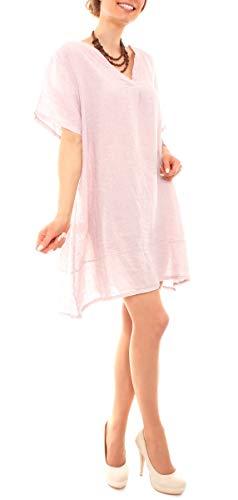 Fragola Moda Damen Kleid Sommer Leinen Tunika A-Linie XXL Oversized Strandkleid Kurzarm Leinenkleid mit V-Neck One Size Rosa