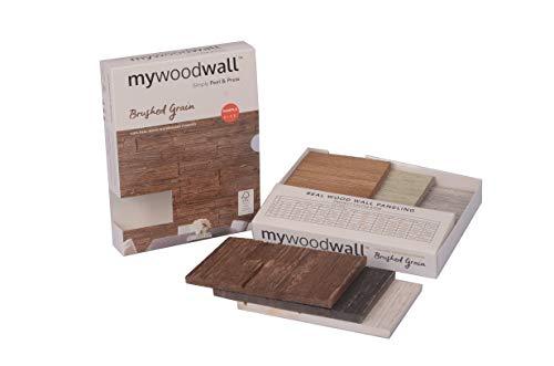 DIY Selbstklebende Mywoodwall Wandpaneele aus Echtholz - MYWOODWALL™ Moderne 3D Wandverkleidung - Kollektion: Brushed Grain - MUSTER-BOX