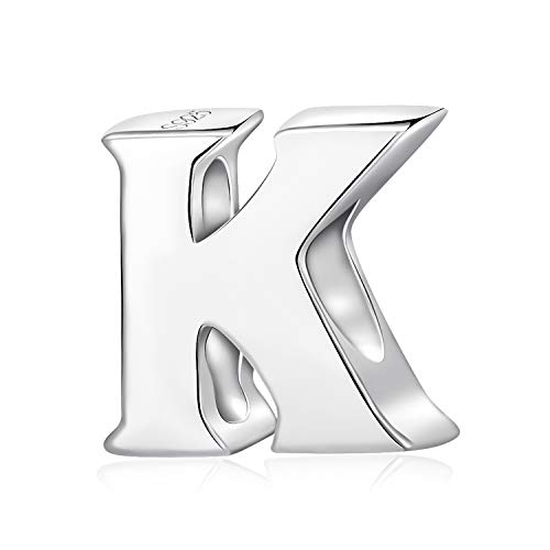 Alphabet Charms Letter Initial A-Z Genuine 925 Sterling Silver Beads fits Pandora Charms Bracelet (Letter K)