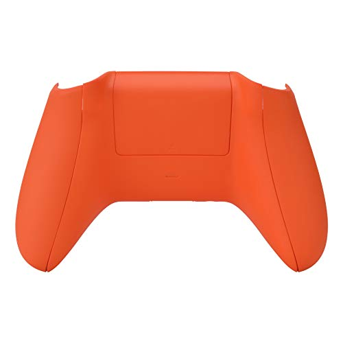 eXtremeRate Soft Touch Grip Custom Bottom Shell Back Panels for Xbox One S & One X Controller, Orange Replacement Back Shell Side Rails w/Battery Cover for Xbox One S X Controller Model 1708