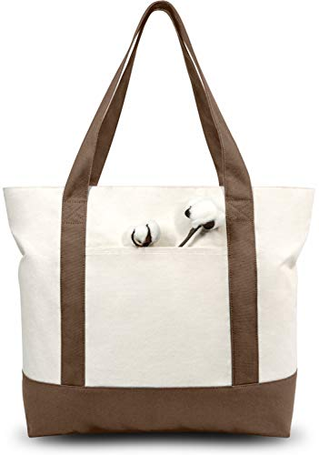 TOPDesign Stylish Canvas Tote Bag with an External Pocket, Top Zipper Closure, Daily Essentials (Brown/Natural)