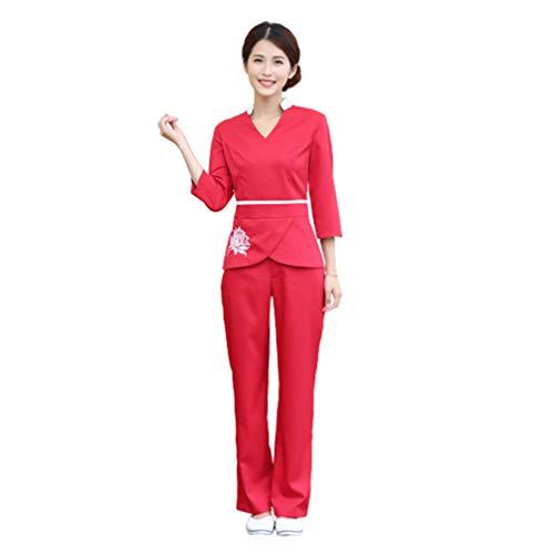 Minkissy Frauen Schrubben Top Hosen Kosmetikerin Arbeitskleidung Salon Spa Uniform Langarm Baumwolle Kleidung Krankenhaus Arbeitskleidung V-Ausschnitt Kostüm 1 Set / 2 Stück Rote Größe X