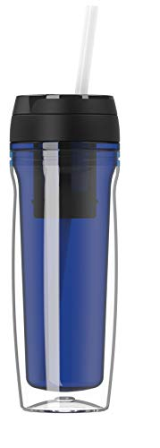 Botella de agua de alta calidad, 500 ml, para café y té, aislada para bebidas calientes y frías, colador de té, pajitas de frutas, azul