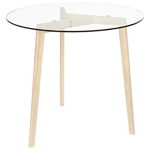 Wakects Mesa de centro para salón, mesa de café con patas de roble macizo, 80 x 72 cm, mesa auxiliar de cristal templado transparente
