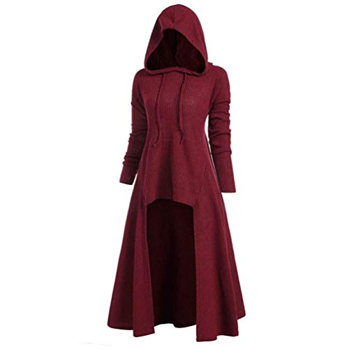 Womens Hoodies Plus Size Vintage Hooded Cloak High Low Sweater Coat Loose Knitted Ribbed Hem Blouse Tops S-5XL (Wine Red,4X-Large)